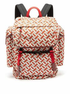 Burberry - Tb Monogram Leather-trim Backpack - Mens - Red Multi