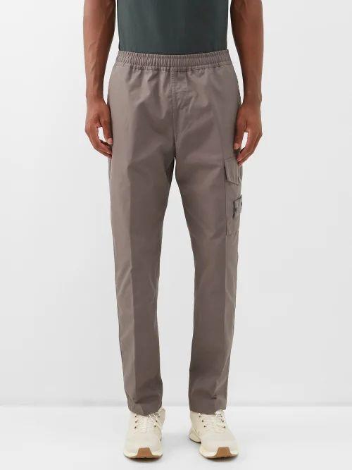 Frame - Monogram Embroidered Cotton Track Pants - Mens - Grey