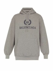 Balenciaga - Crest Logo Cotton Jersey Hooded Sweatshirt - Mens - Grey Multi