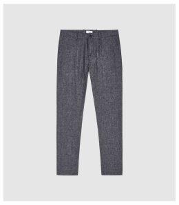 Reiss Vale - Linen Blend Drawstring Trousers in Indigo, Mens, Size 38