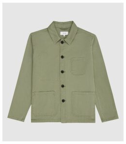 Reiss Conley - Casual Worker Jacket in Khaki, Mens, Size XXL