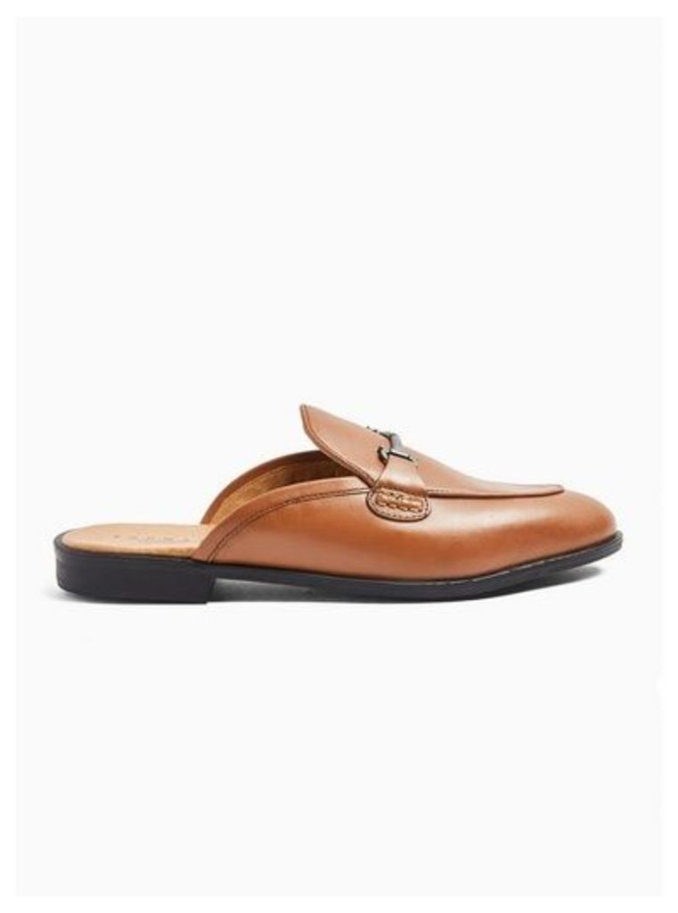 Mens Brown Tan Leather Hutton Mules, Brown