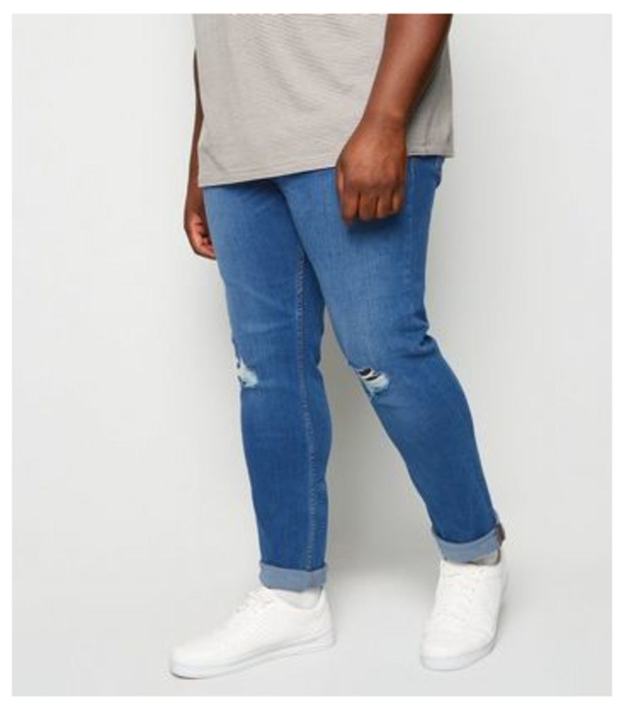 Plus Size Blue Ripped Knee Skinny Jeans New Look