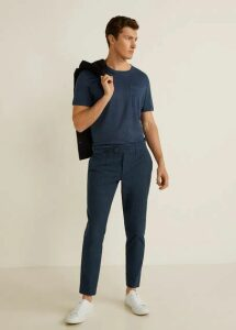 Slim fit striped texture trousers