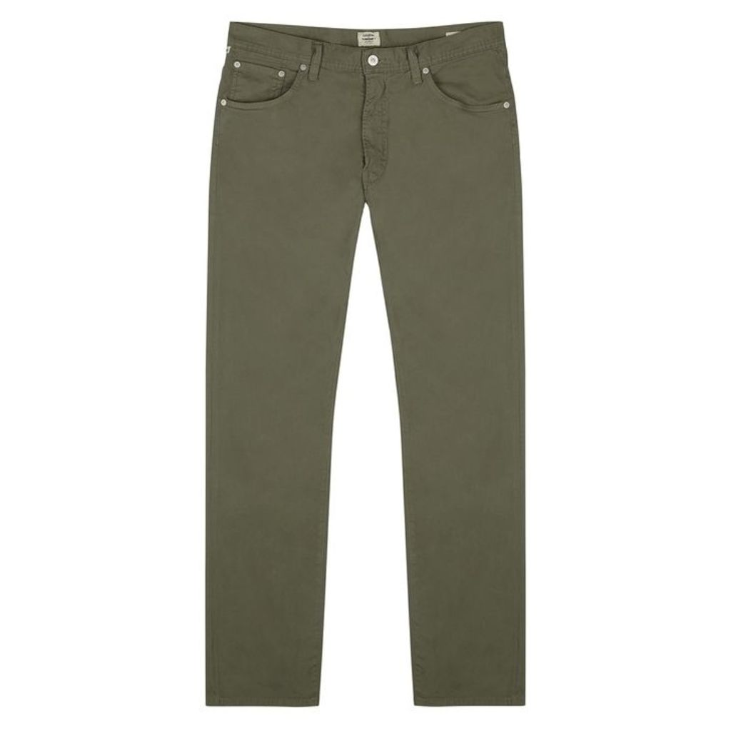Citizens Of Humanity Bowery Olive Stretch-cotton Trousers