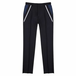 Valentino Navy Tapered Wool-blend Trousers