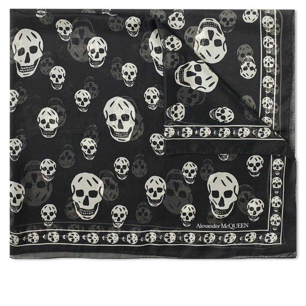 Alexander McQueen Skull Scarf Black & Ivory