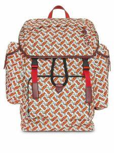 Burberry Medium Leather Trim Monogram Print Backpack - Red