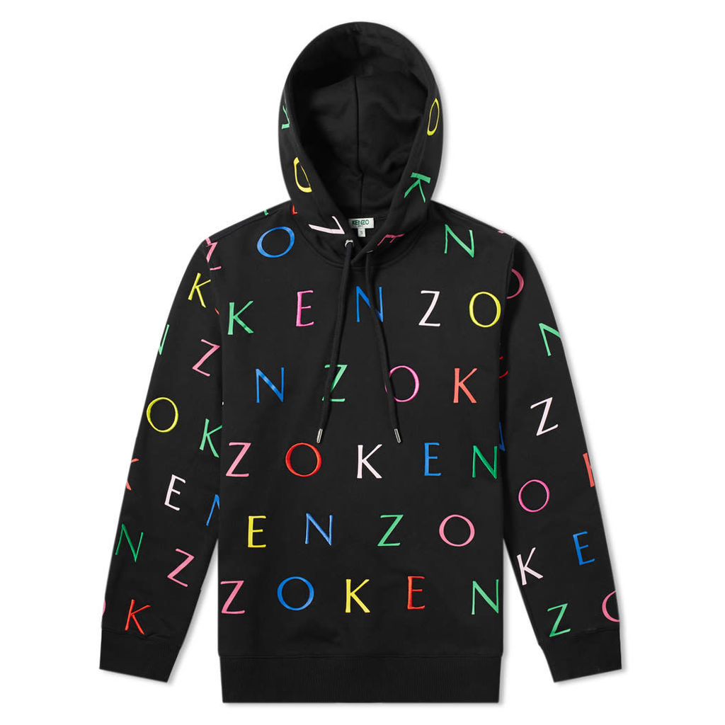 Kenzo All Over Letter Print Hoody - END. Exclusive Black & Multi