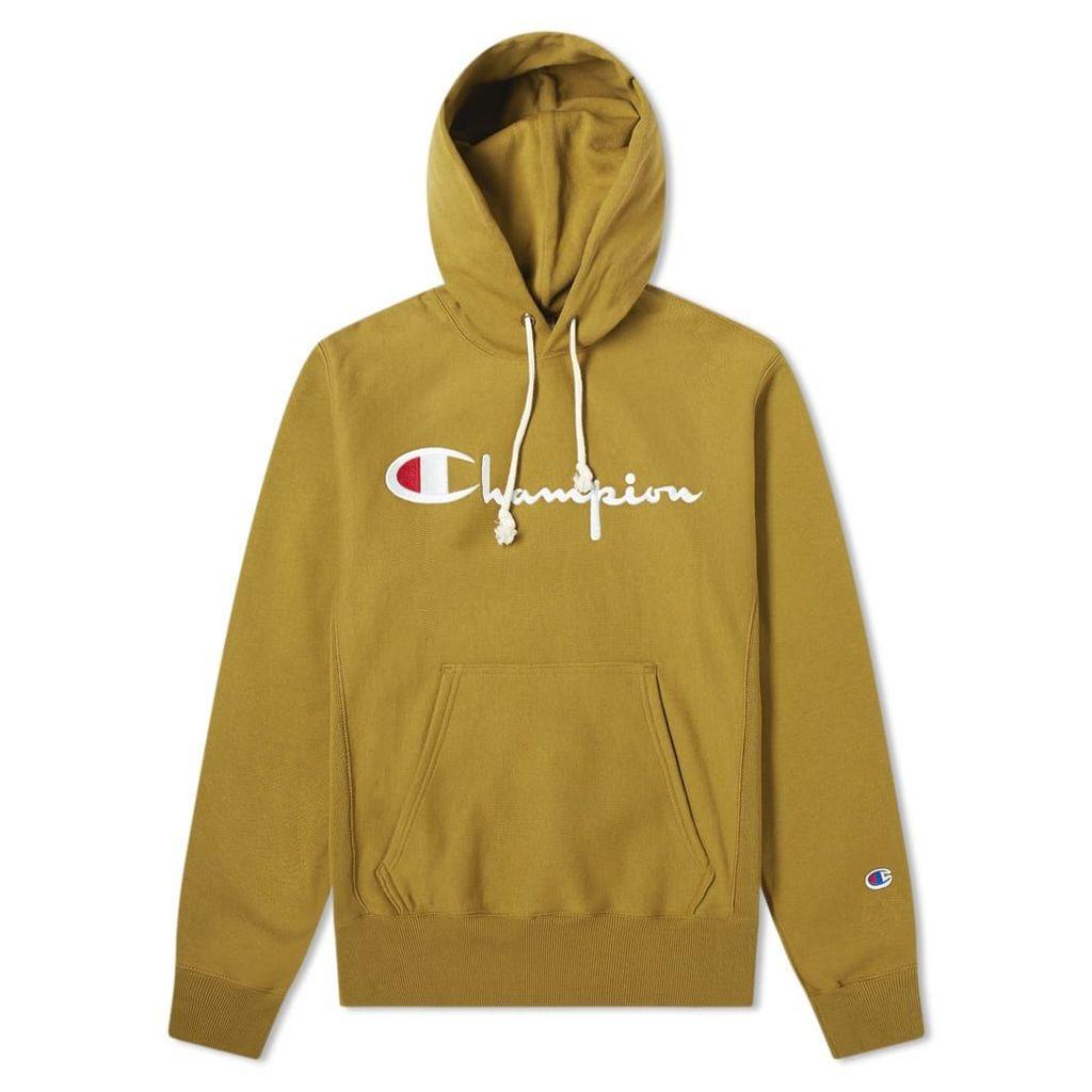 Champion Reverse Weave Script Logo Hoody Olive Drab