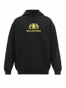 Balenciaga - Bb Logo Print Cotton Hooded Sweatshirt - Mens - Black Yellow