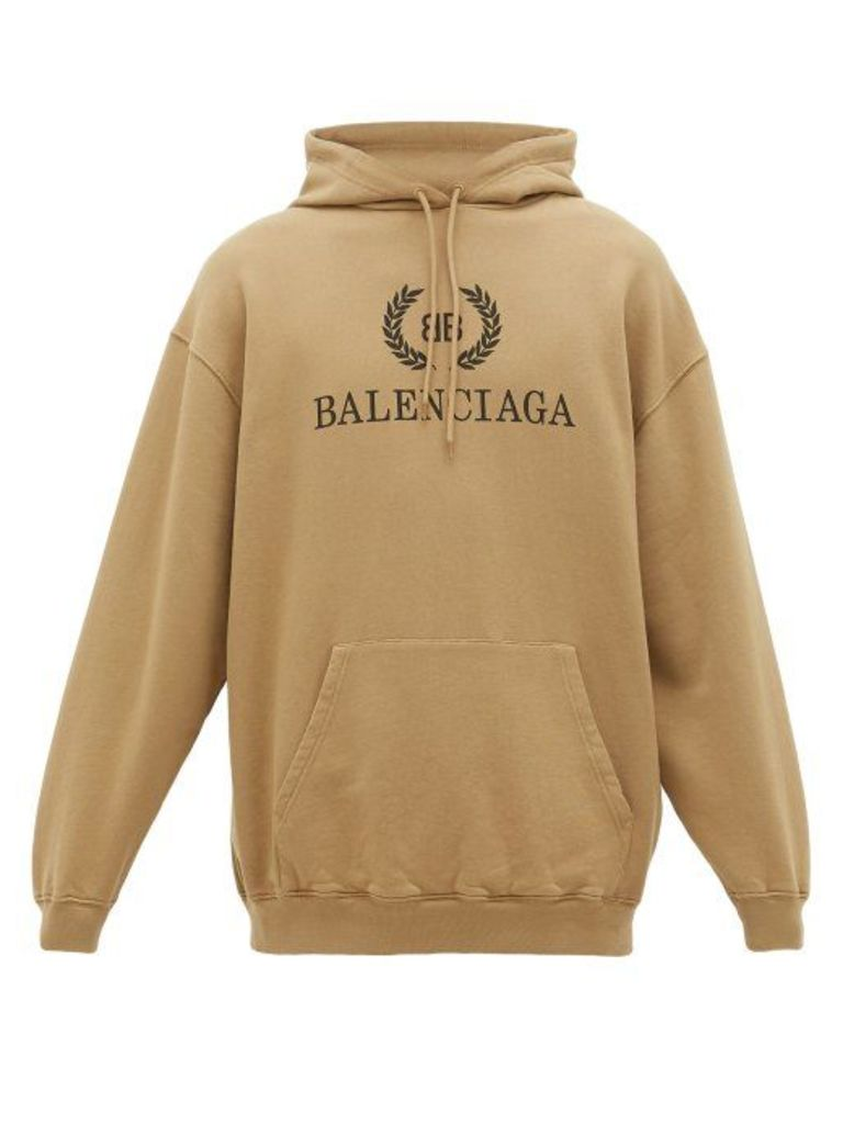 Balenciaga - Laurier Bb Logo Print Cotton Hooded Sweatshirt - Mens - Brown