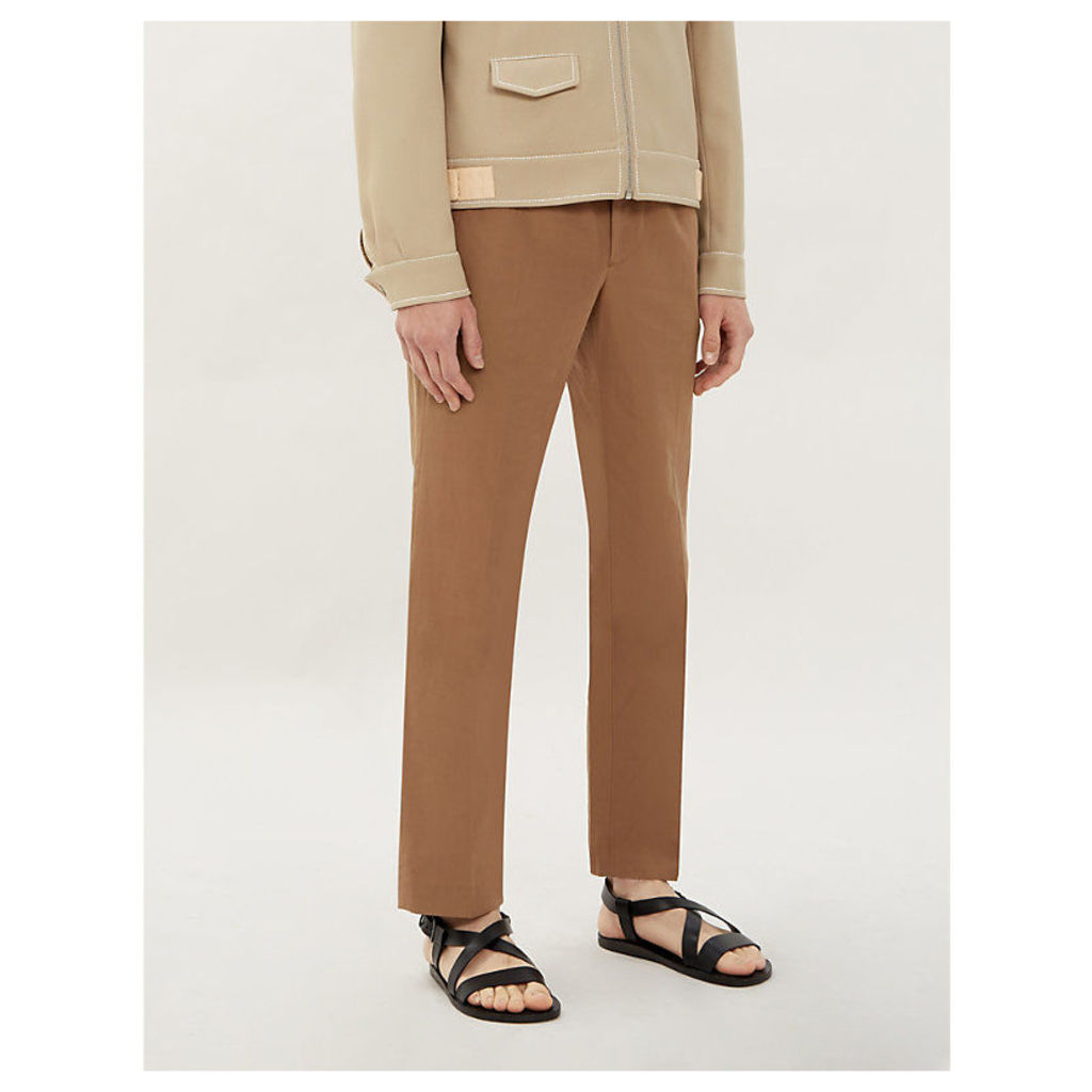 Drawstring slim-fit cotton and linen-blend trousers