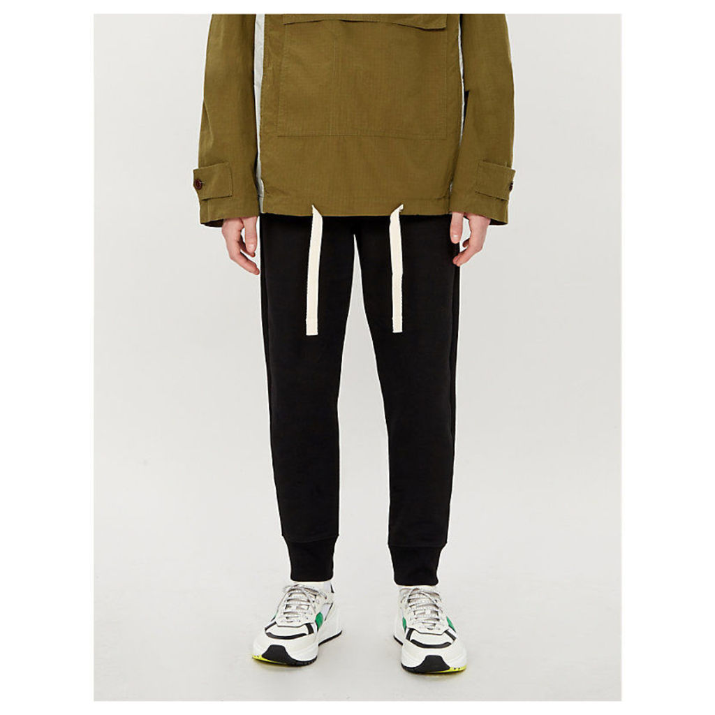 Zebra-embroidered organic cotton-jersey jogging bottoms