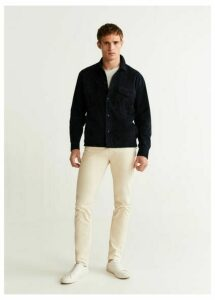Pocket navy suede jacket