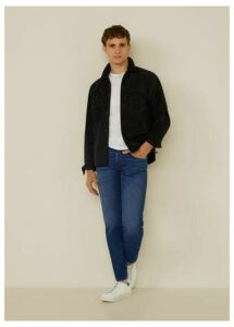 Tapered fit dark wash soft jeans