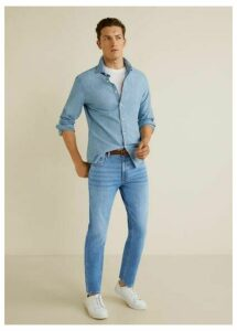 Tapered fit medium wash soft jeans