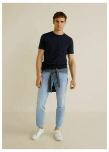 Tapered fit light wash soft jeans