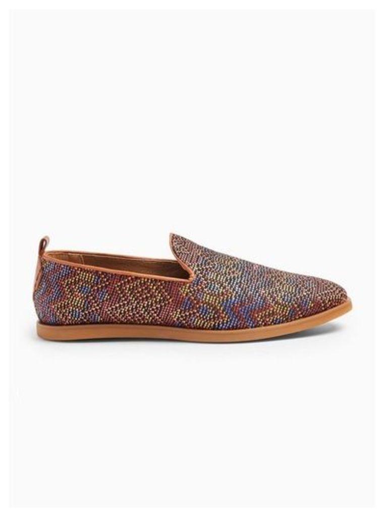 Mens Brown Hudson Rust 'Aztec' Slip On Loafers, Brown