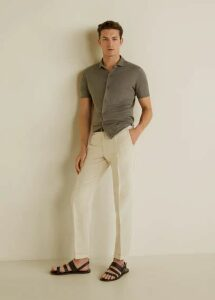 Pleated cotton linen trousers