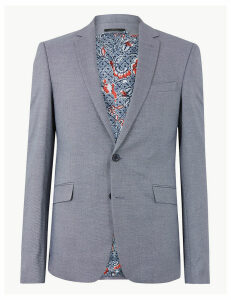 M&S Collection Blue Slim Fit Jacket with Stretch