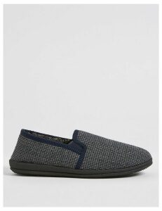M&S Collection Big & Tall Checked Slip-on Slippers