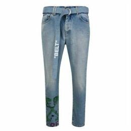 Off White Patterned Jeans