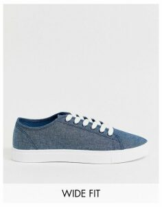 ASOS DESIGN Wide Fit trainers in blue chambray
