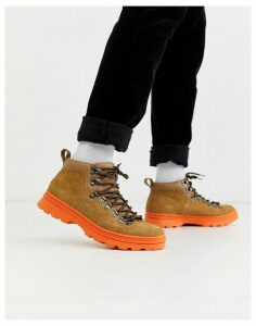 ASOS DESIGN hiker boots in tan suede with contrast chunky sole