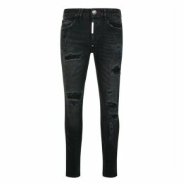 Philipp Plein Super Straight Ripped Biker Jeans