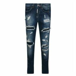 Philipp Plein Super Straight Ripped Biker Jeans