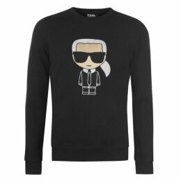 Karl Lagerfeld Large Embroidered Logo Crew Sweatshirt