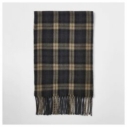 Mens River Island Black check scarf