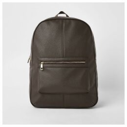 Mens River Island Brown faux leather backpack