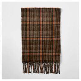 Mens River Island Brown heritage check scarf