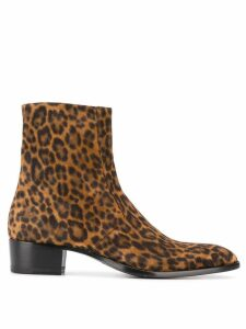 Saint Laurent Wyatt leopard print 40mm boots - Brown