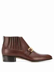 Gucci buckle detail ankle boots - Brown