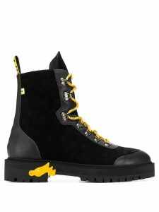 Off-White contrasting lace-up boots - Black