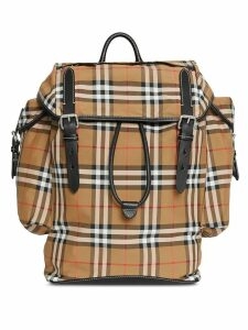 Burberry Vintage Check and Leather Backpack - Brown