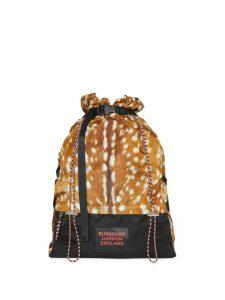 Burberry Deer Print Nylon Drawcord Backpack - Brown