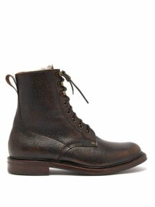 Cheaney - Shearling Lined Grained Leather Boots - Mens - Brown