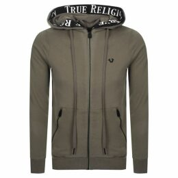 True Religion Taped Full Zip Hoodie Brown