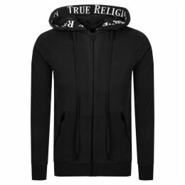True Religion Taped Full Zip Hoodie Black