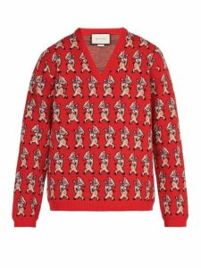 Gucci - Pig Instarsia V Neck Wool Sweater - Mens - Red