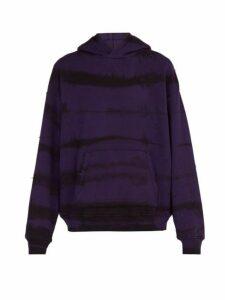 Amiri - Distressed Tie Dye Hooded Cotton Sweatshirt - Mens - Purple
