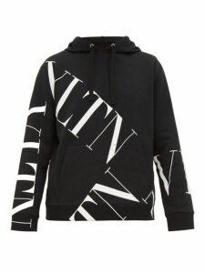 Valentino - Grid Logo Print Cotton Hooded Sweatshirt - Mens - Black