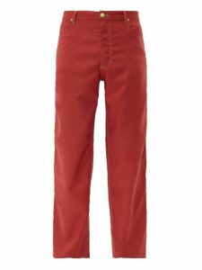 Eckhaus Latta - Topstitched Twill Wide Leg Trousers - Mens - Red