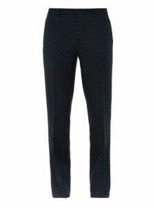 Etro - Geometric Jacquard Cotton Blend Trousers - Mens - Blue