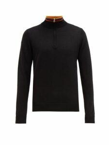 Paul Smith - Artist Stripe Half Zip Merino Wool Sweater - Mens - Black