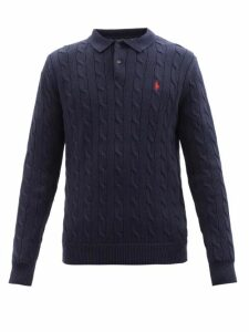 Ami - Tapered Cotton Twill Chino Trousers - Mens - Navy